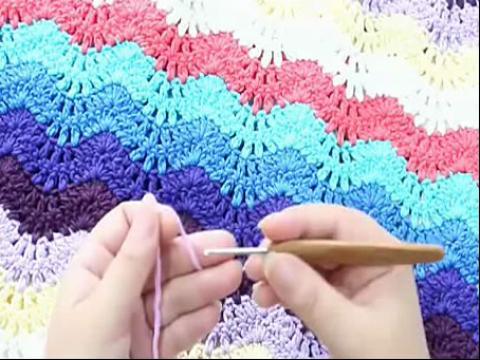 钩针编织花样教程 彩虹围巾彩虹毯的钩编方法