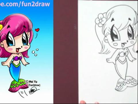 diy手绘画教程:如何画卡通美人鱼