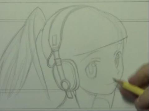 画带耳机卡通女孩