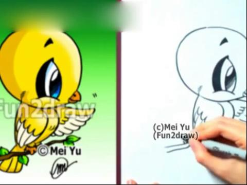 diy手绘画教程:如何画卡通金丝雀