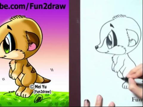 何画卡通海岛猫鼬