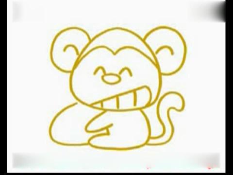 宝宝学画画:简笔画教程-猴子简笔画教程