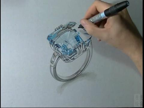 蓝宝石戒指马克笔手绘视频教程