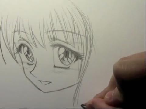 pps视频:手绘画教程-如何画大眼睛卡通少女 简单素描