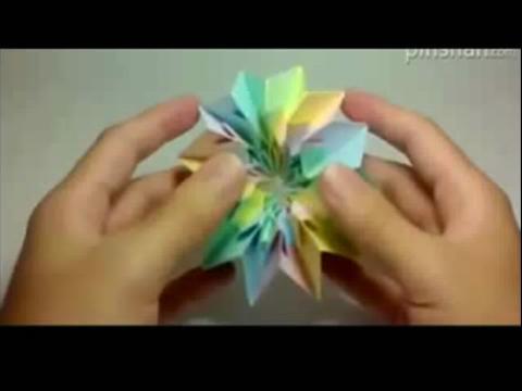 手工折纸花球 手工制作烟花折纸的视频教程