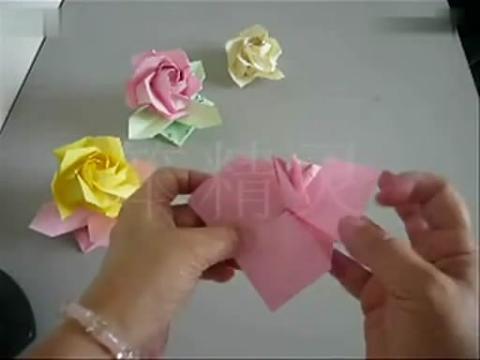 手工制作大全 折纸玫瑰花托diy视频
