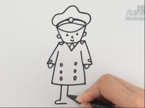 超萌卡通警察简笔画 可爱警察卡通简笔画 警察摩托车简笔画