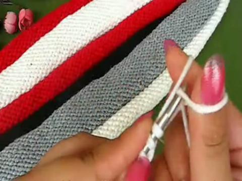 编织情侣卷边条纹围巾