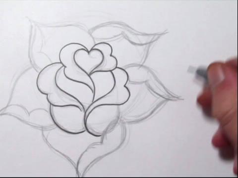 玫瑰花简单的铅笔画